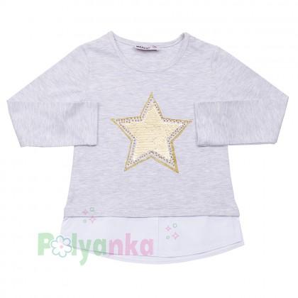 Wanex Футболка с длинным рукавом для девочки серая с пайетками-перевёртышами в виде звезды - Картинка 1