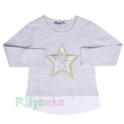 Wanex Футболка с длинным рукавом для девочки серая с пайетками-перевёртышами в виде звезды - Картинка 3