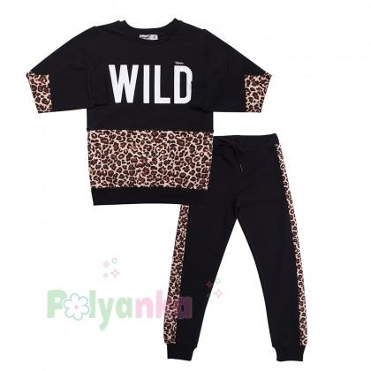 Wanex Костюм для девочки чёрный с леопардовыми вставками - Картинка 1