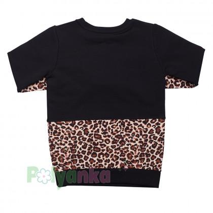 Wanex Костюм для девочки чёрный с леопардовыми вставками - Картинка 2