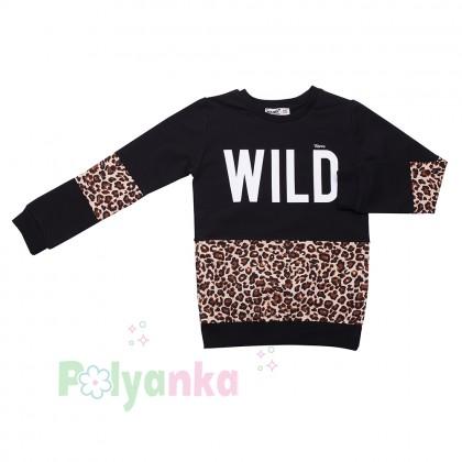 Wanex Костюм для девочки чёрный с леопардовыми вставками - Картинка 3