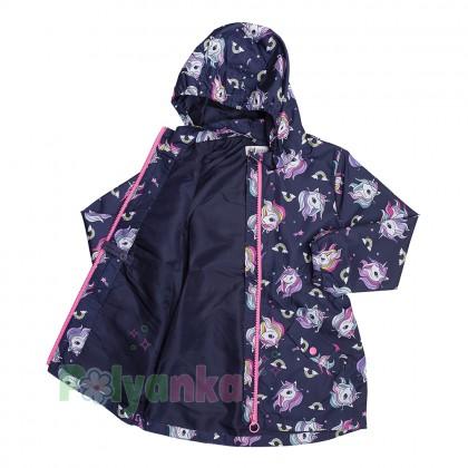 H&M Ветровка для девочки синяя с единорогами - Картинка 2