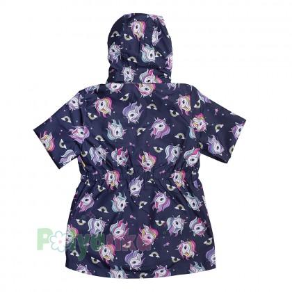 H&M Ветровка для девочки синяя с единорогами - Картинка 3