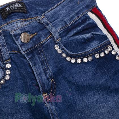 Wanex Джинсы для девочки синие с камнями и бело-красными лампасами - Картинка 7