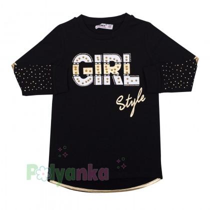 """Wanex Костюм для девочек """"Girl style"""" чёрный с золотыми вставками и стразами - Картинка 2"""