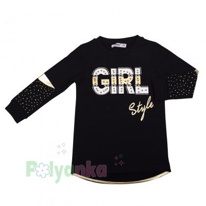 """Wanex Костюм для девочек """"Girl style"""" чёрный с золотыми вставками и стразами - Картинка 3"""