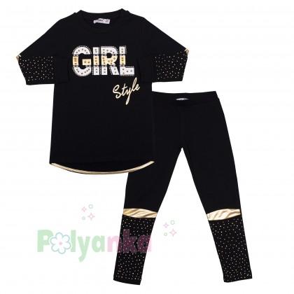 """Wanex Костюм для девочек """"Girl style"""" чёрный с золотыми вставками и стразами - Картинка 1"""