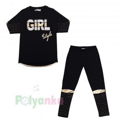 """Wanex Костюм для девочек """"Girl style"""" чёрный с золотыми вставками и стразами - Картинка 9"""