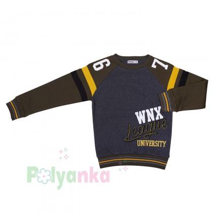 "Wanex Свитшот для мальчика ""WNX"" тёмно-серый с начёсом - Картинка 2"