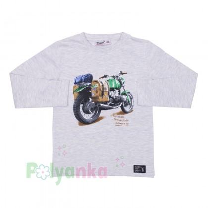 Wanex Футболка с длинным рукавом для мальчика серая с мотоциклом - Картинка 1