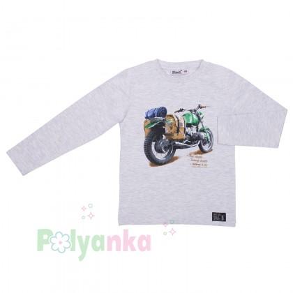 Wanex Футболка с длинным рукавом для мальчика серая с мотоциклом - Картинка 2