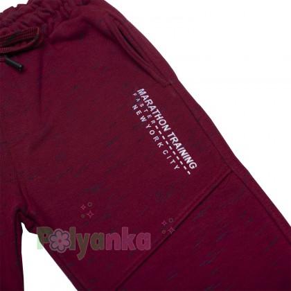 Wanex Спортивные штаны для мальчика бордовые с начёсом - Картинка 2