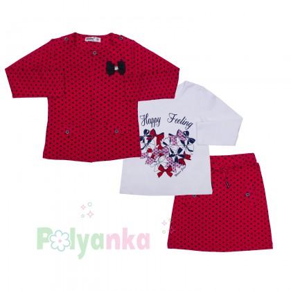 Wanex Комплект детский красный в чёрный горох - Картинка 1