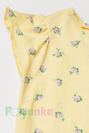 H&M Футболка для девочки желтая в цветах - Картинка 2
