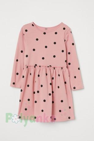 H&M Платье для девочки цвета пудры в черный горох - Картинка 1