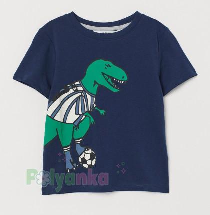 H&M Футболка для мальчика с динозавром синяя - Картинка 1