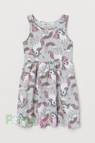 H&M Сарафан для девочки с единорогами серый - Картинка 1
